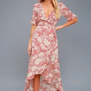 Lulus Wild Winds Pink Floral Print High-Low Wrap